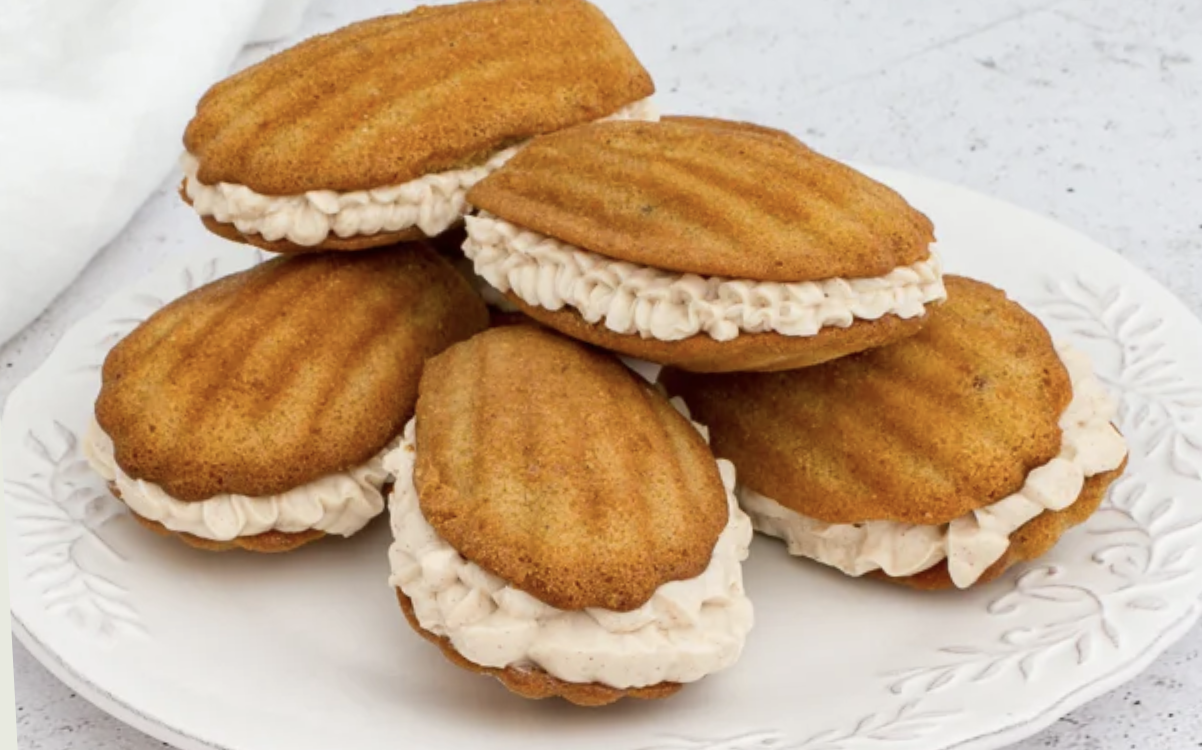 Pumpkin spice madelines with cream cheese frosting