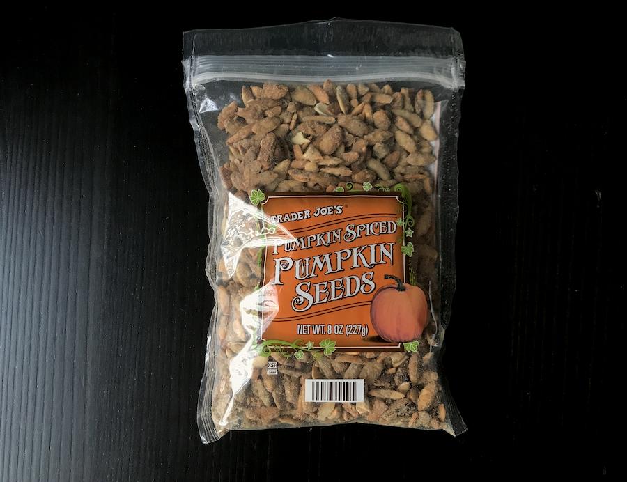 A bag of pumpkin spiced pumpkin seeds