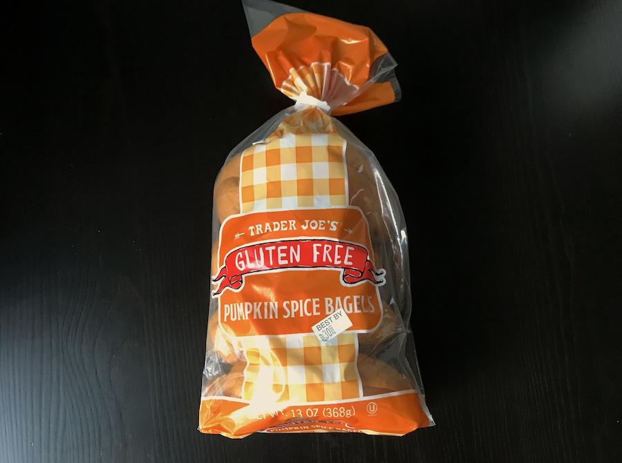 A bag of gluten free Pumpkin spice bagels