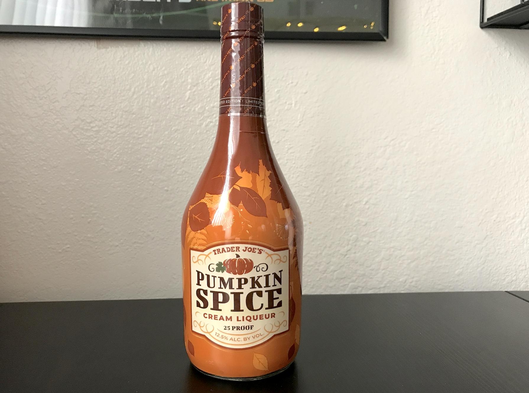 A bottle of pumpkin spice cream liqueur
