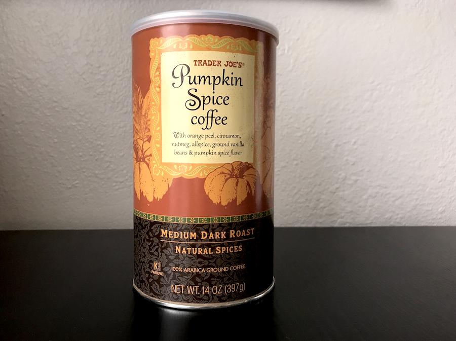 A container of Medium dark roast pumpkin spice coffee