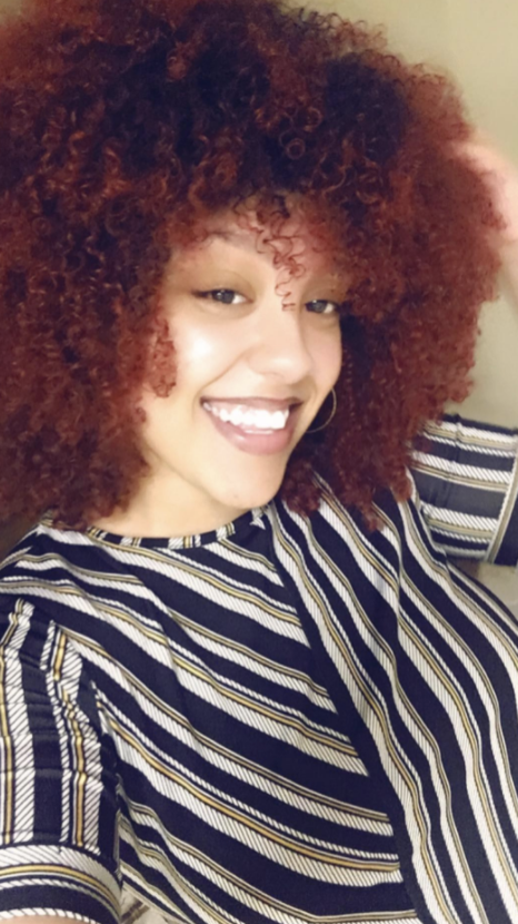 reviewer with 3c natural hair looking moisturized and healthy