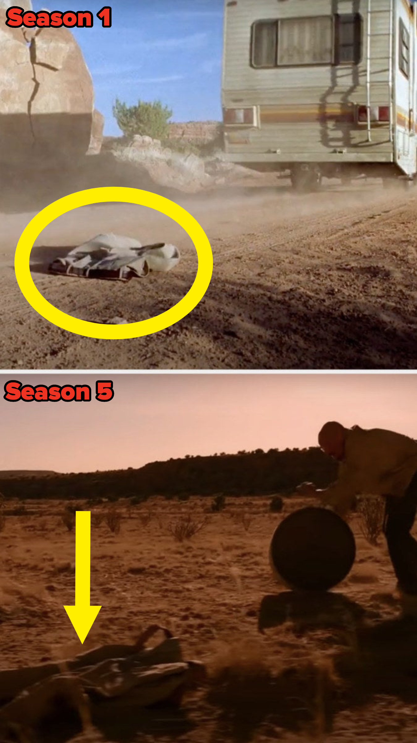 The pants lying in the desert in both episodes