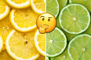 Lemon is on the left with a think face emoji in the center and sliced lime on the right
