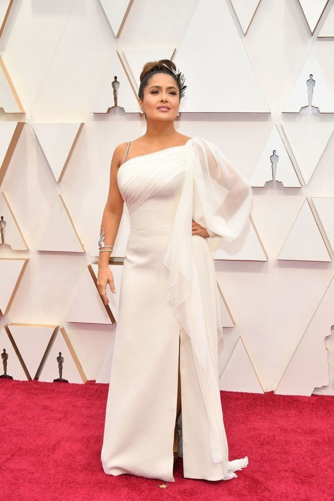 Salma in a one-shouldered gown at the Oscars