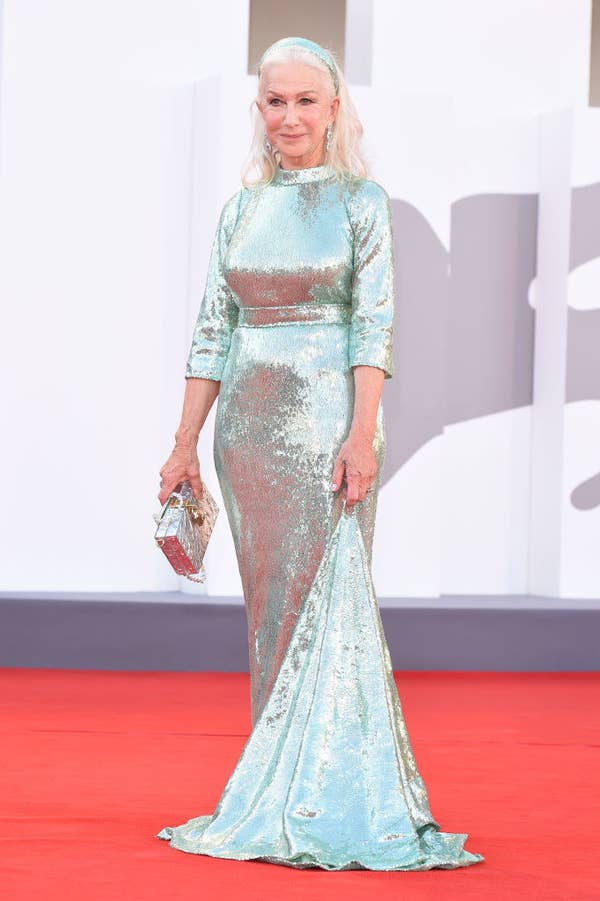 """Helen Mirren in a mint sequined gown on the red carpet for """"Madres Paralelas"""""""