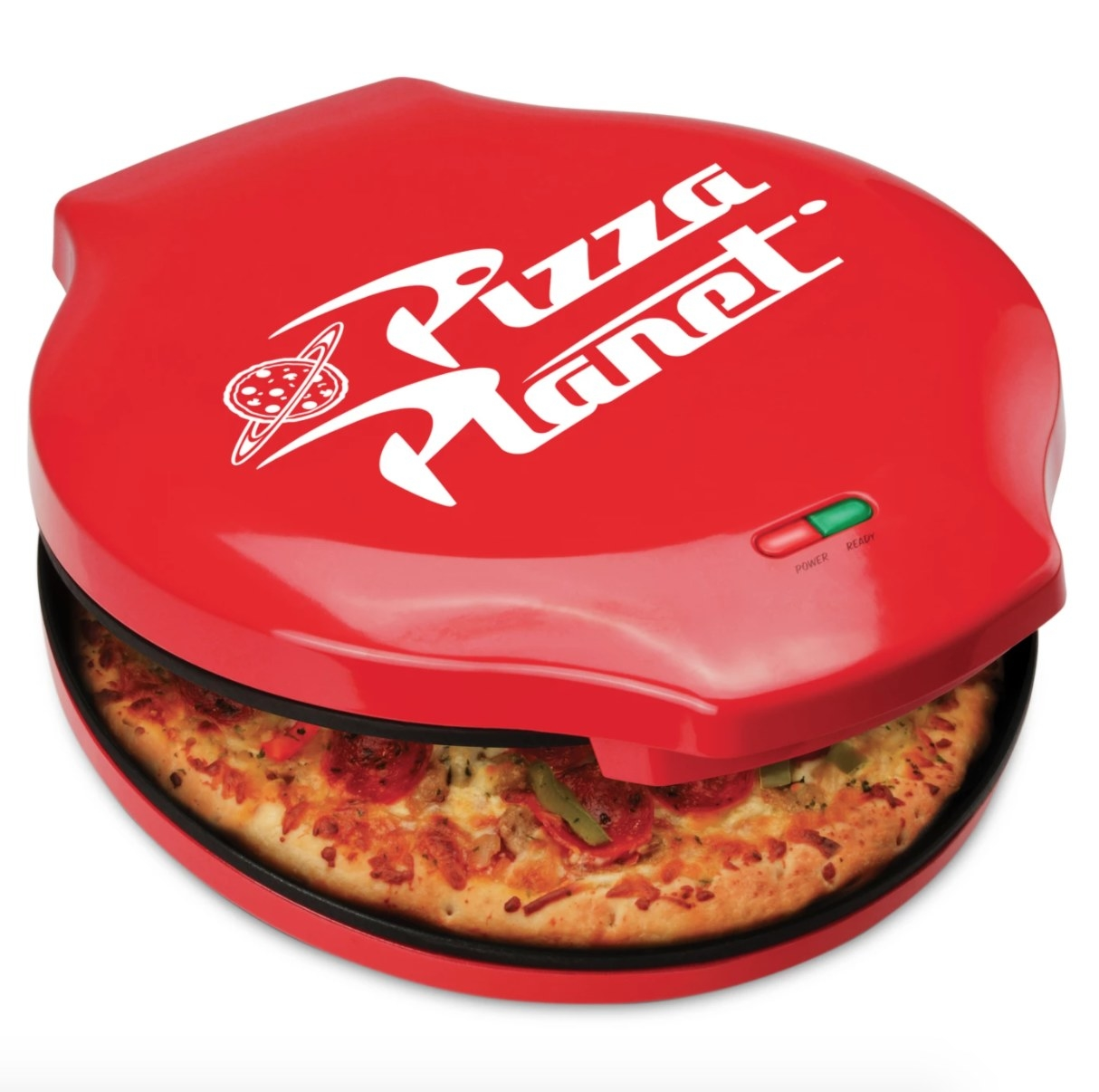 A countertop pizza maker with red outside and Pizza Planet logo on top