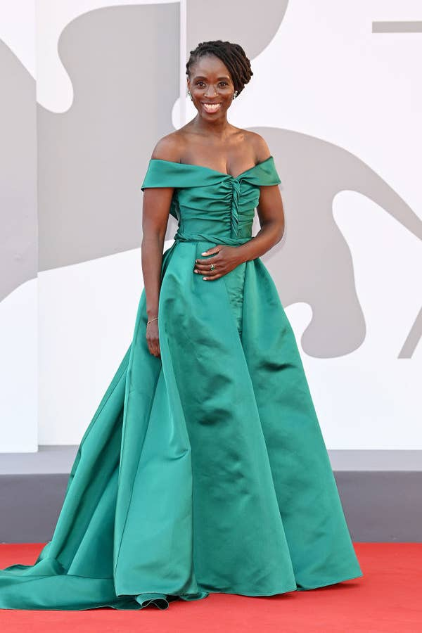 """Sharon Duncan-Brewster in a jewel green gown on the red carpet for """"Dune"""""""