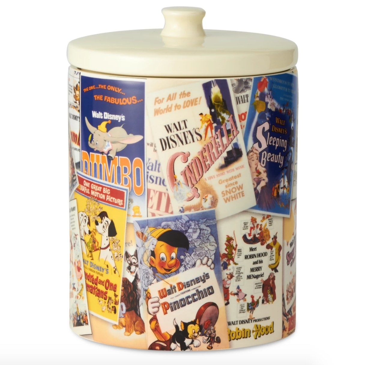 A cookie jar with decorations of classic Disney movie posters