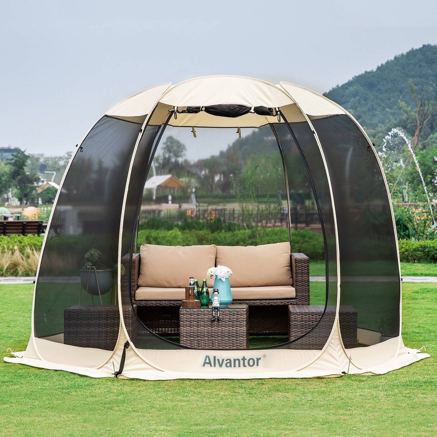 pop up tent outside