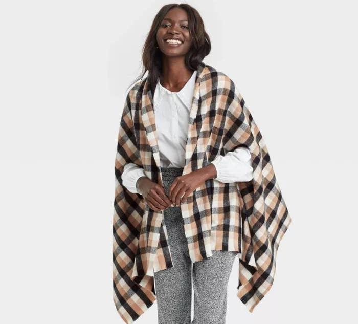 a model wearing the wrap jacket