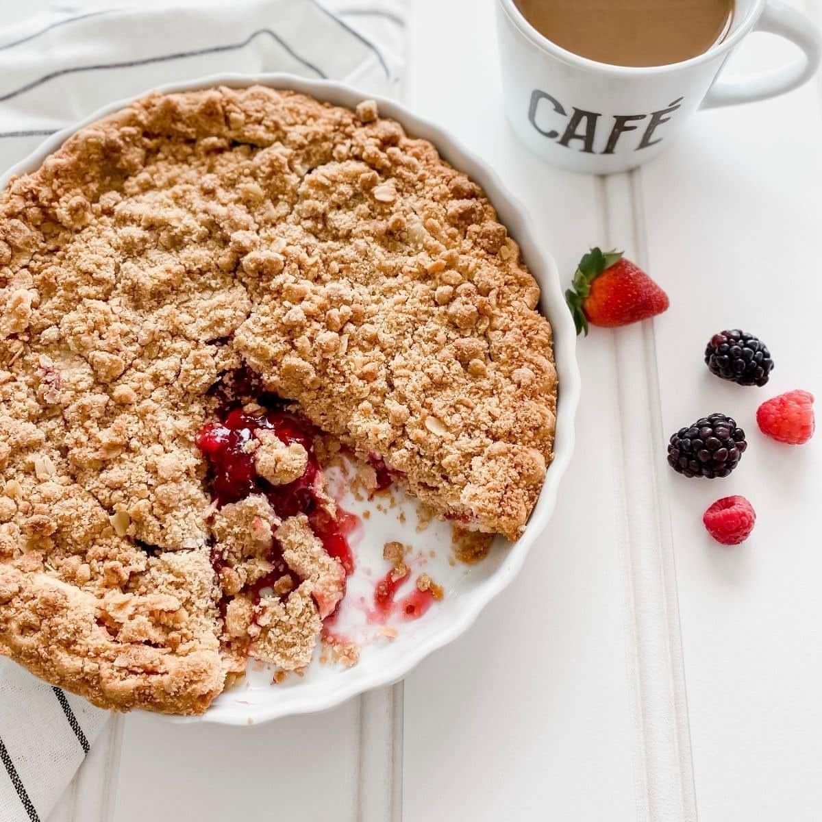 A pie in a ceramic dish