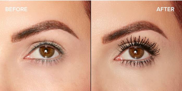 A before image of someone's eyes without makeup and after image with longer thicker lashes