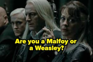 """The Weasleys are sitting at a table labeled, """"Are you a Malfoy or a Weasley?"""""""