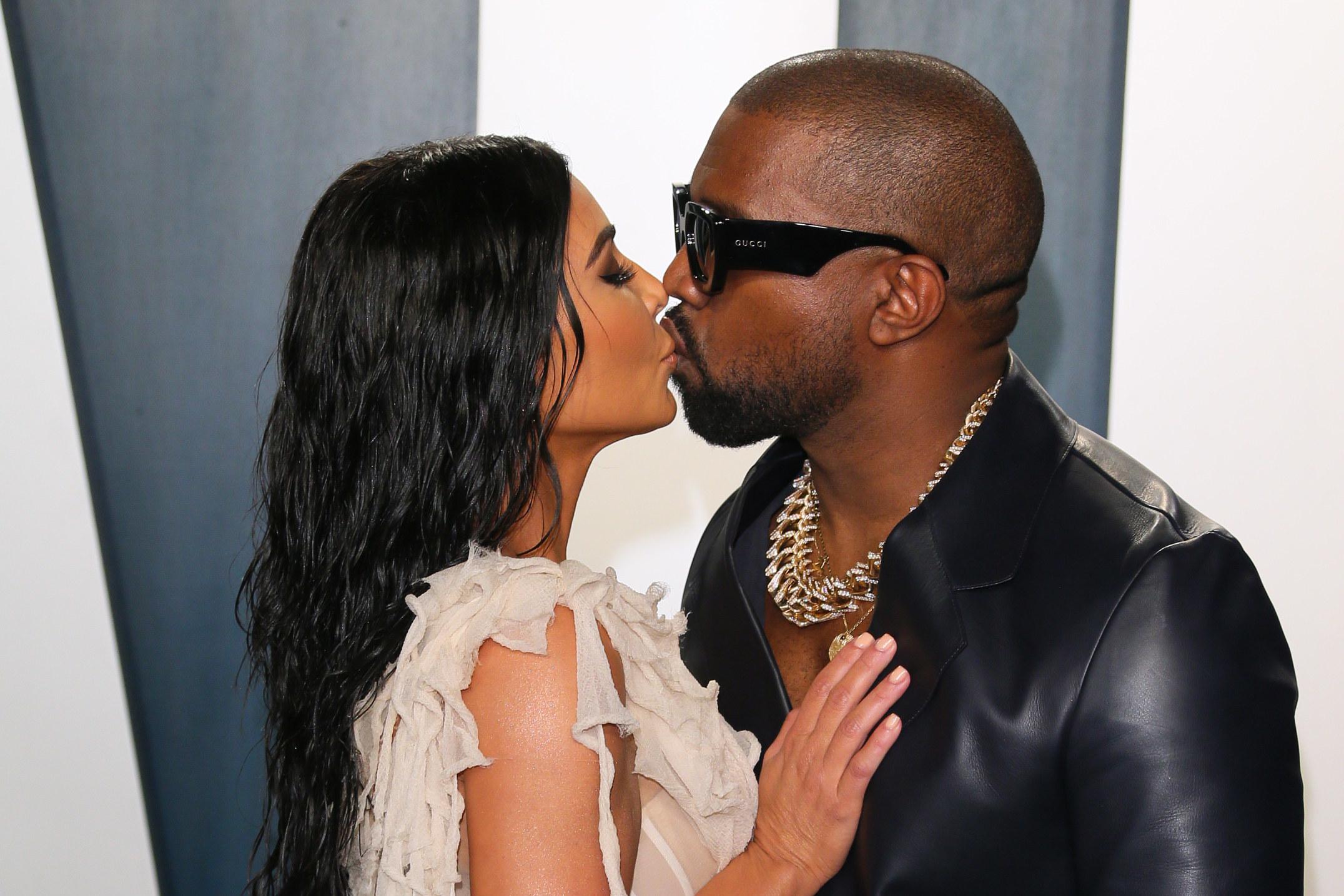 Kim and Kanye kissing