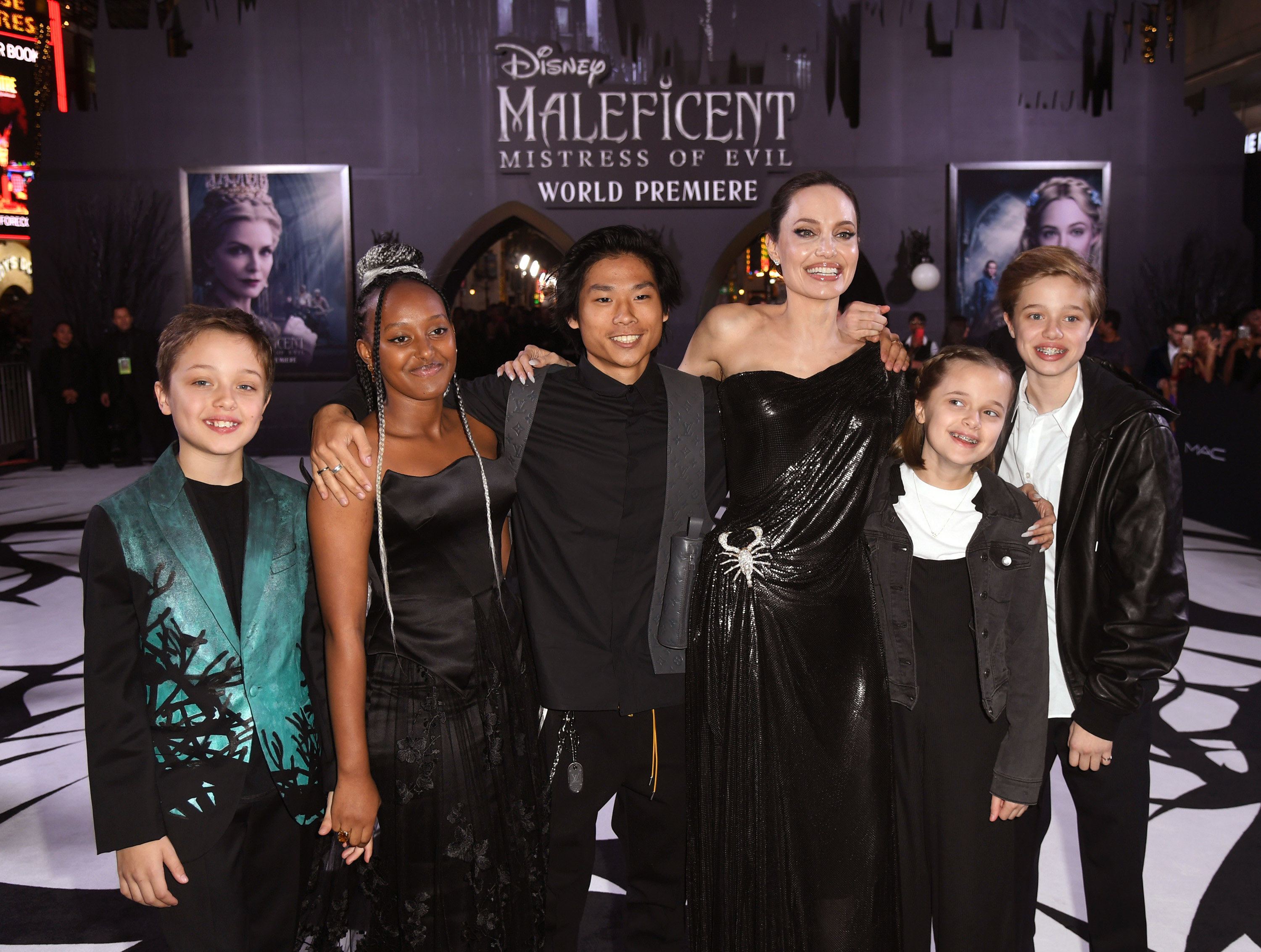 Angelina with five of her children at the Maleficent world premiere