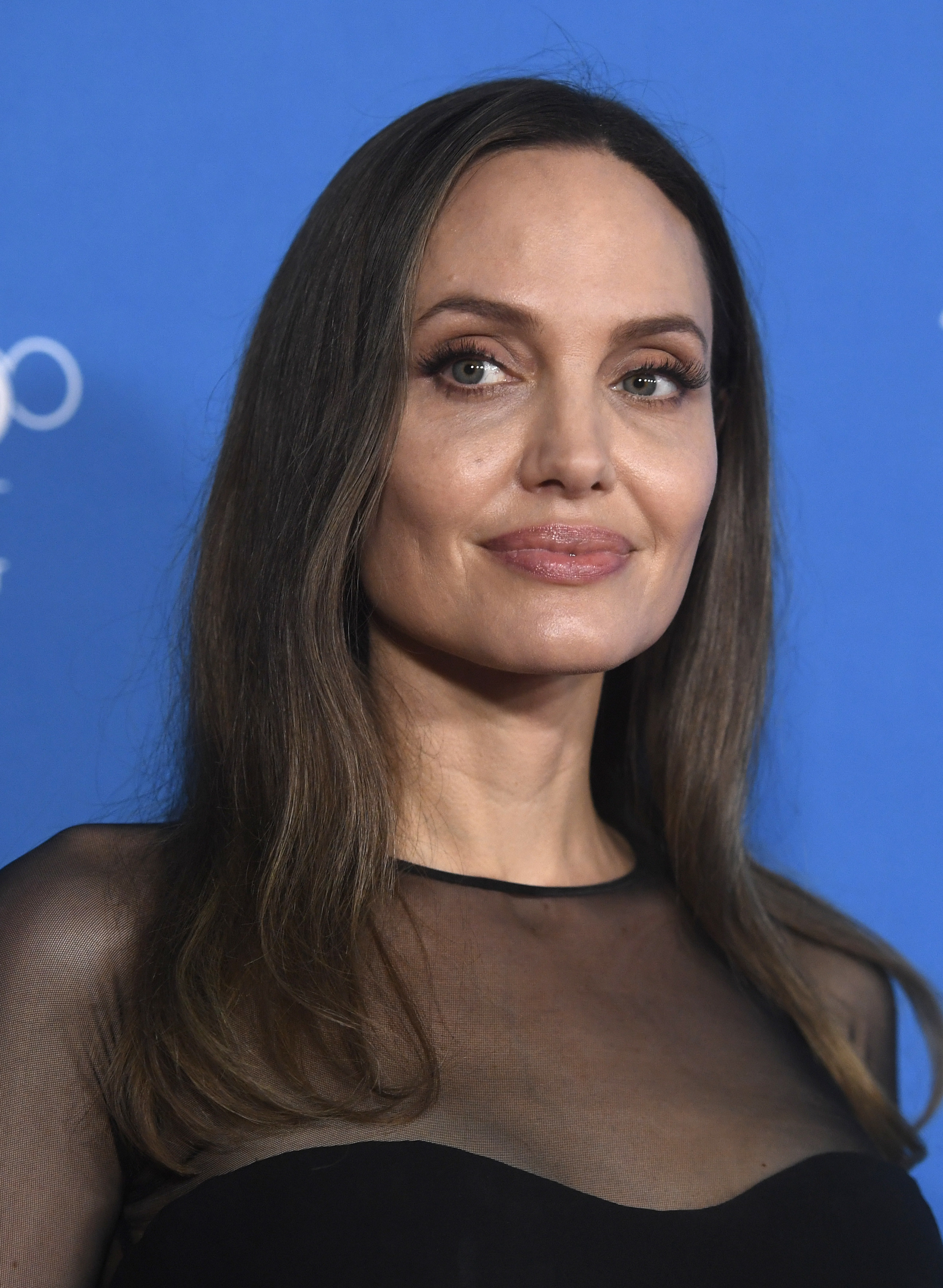 Close-up of Angelina on the red carpet