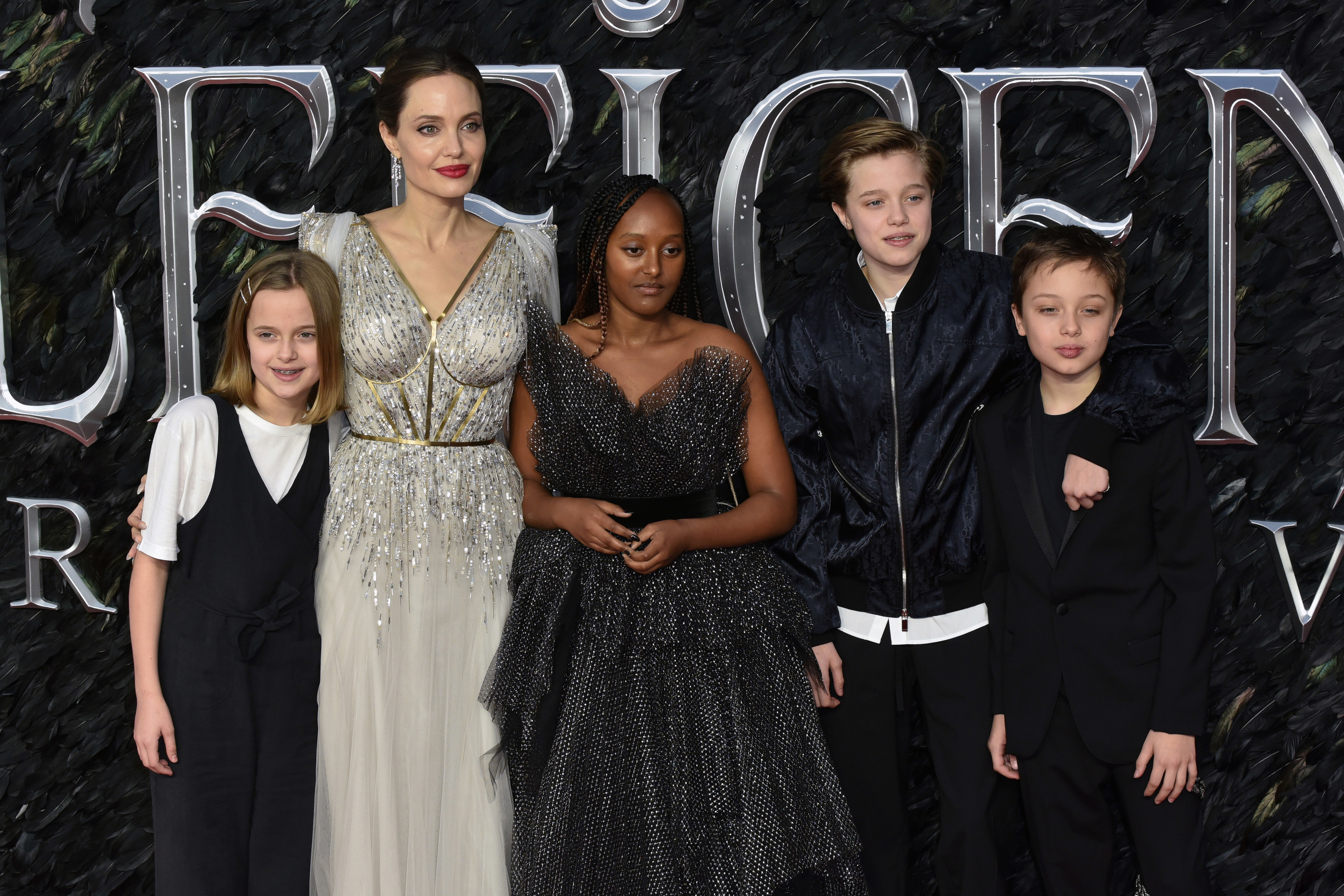 Angelina with four of her children on the red carpet