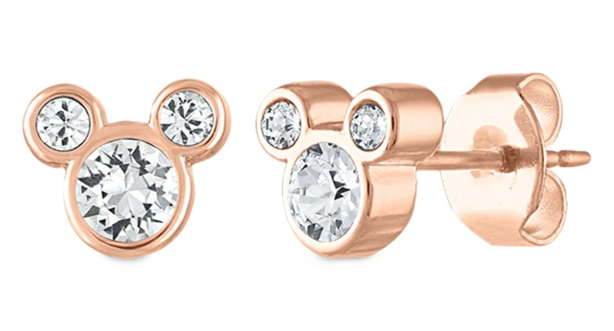 Mickey-shaped stud earrings with rose gold metal and crystal inside