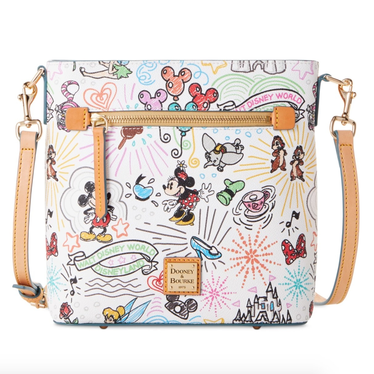 A crossbody purse with colorful Disney character and park decorations