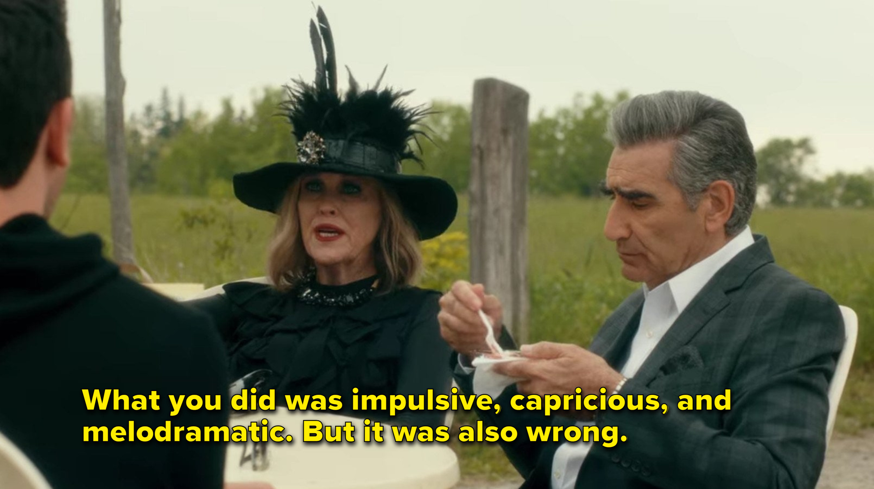 Moira says that what David did was impulsive, capricious, and melodramatic, and also wrong