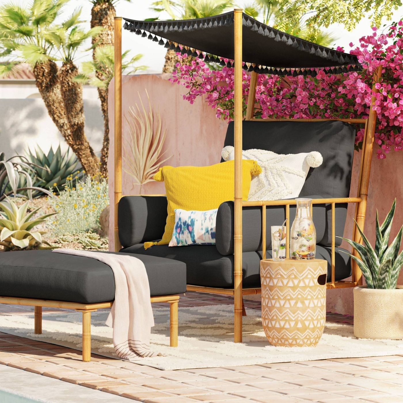 An outdoor canopy chair on a patio