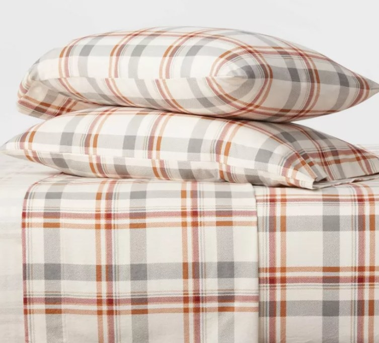 Orange and gray flannel sheets and pillowcases