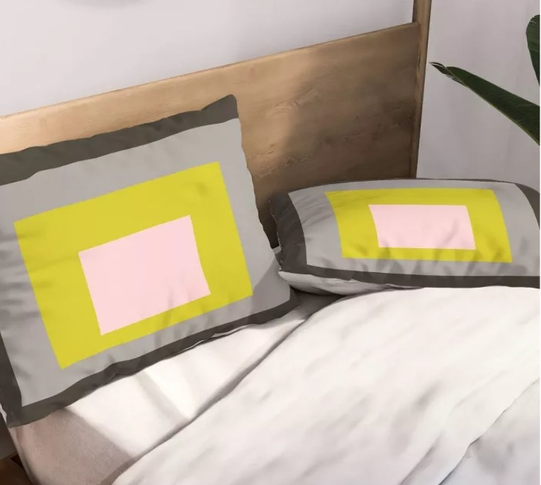 Lime squared pillowcases