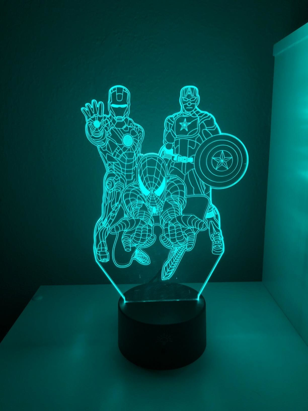 Reviewer's photo of the lamp projecting the illusion ofSpiderman, Ironman and Captain America