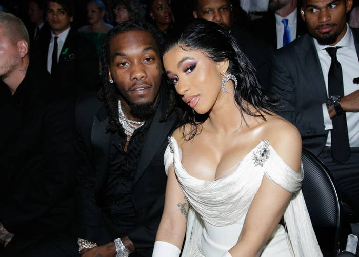 Cardi and Offset sitting in the front row of an awards show