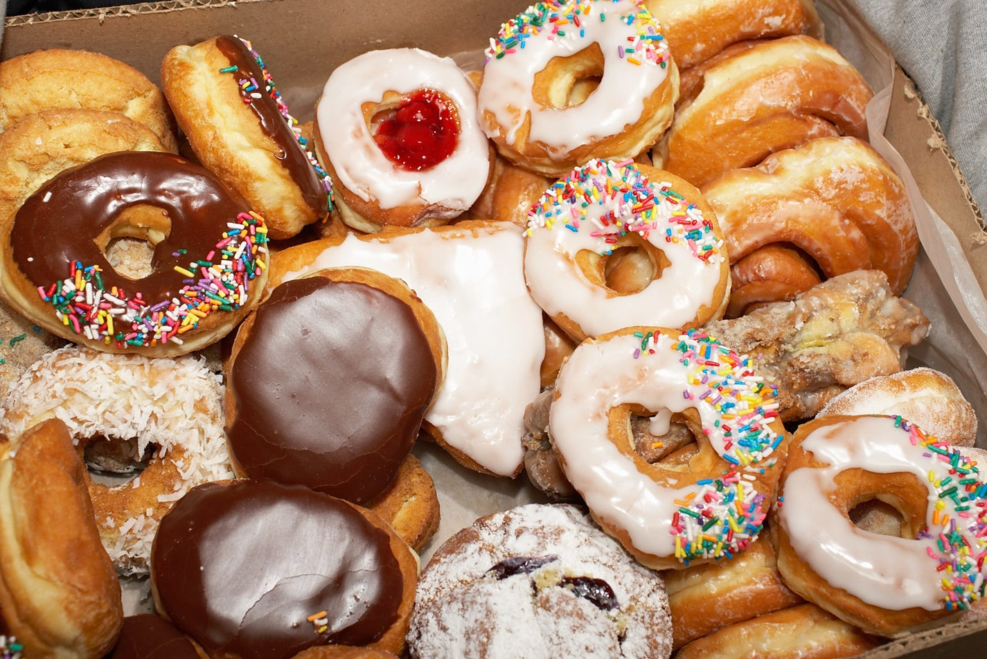 A tray of donuts.