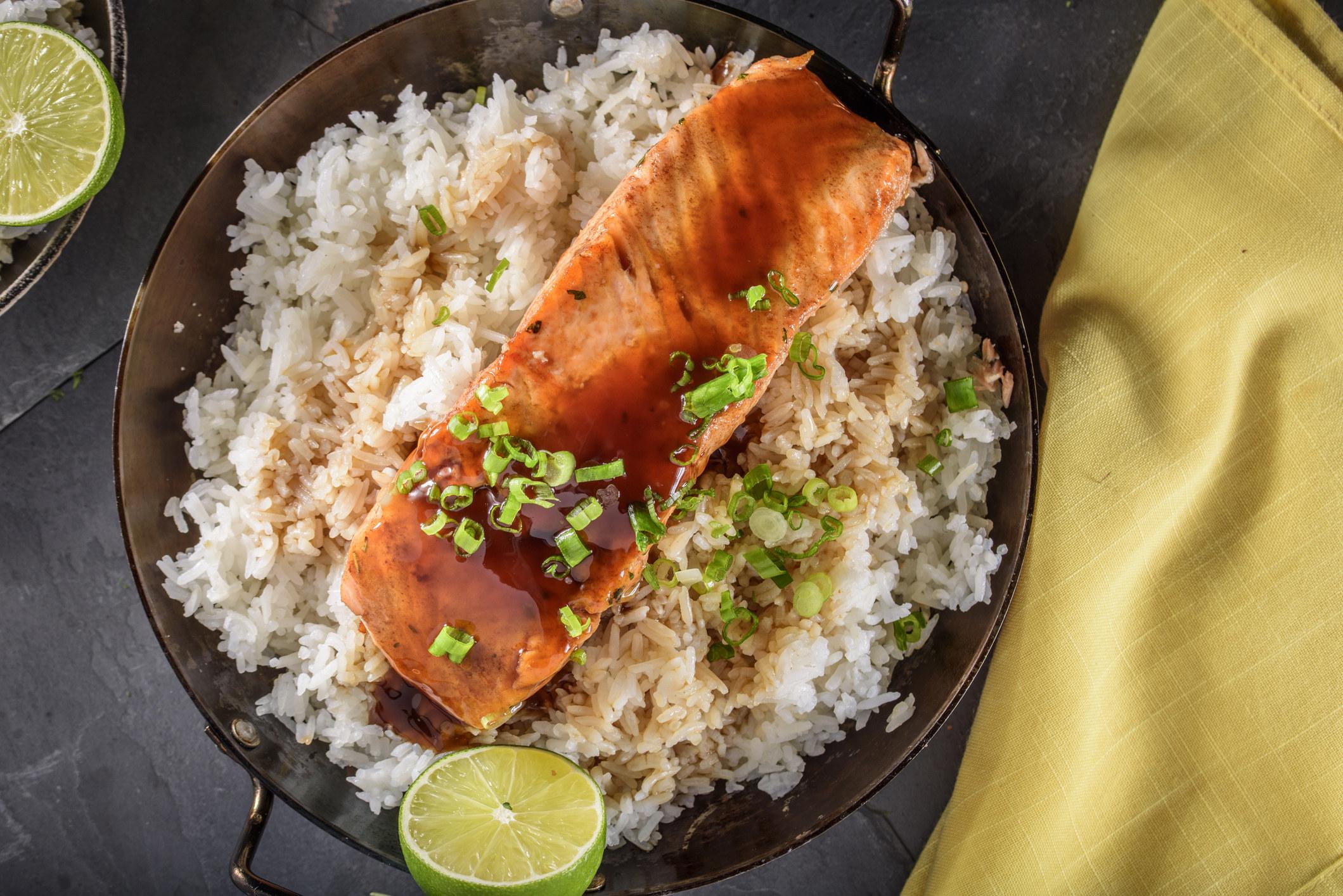 Teriyaki salmon over rice.
