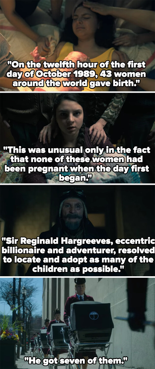a woman gives birth and a man comes to buy her baby as the narrator describes that one day in October 1989, 43 women gave birth despite not being pregnant at the start of that day, and eccentric billionaire Reginald Hargreeves adopted seven
