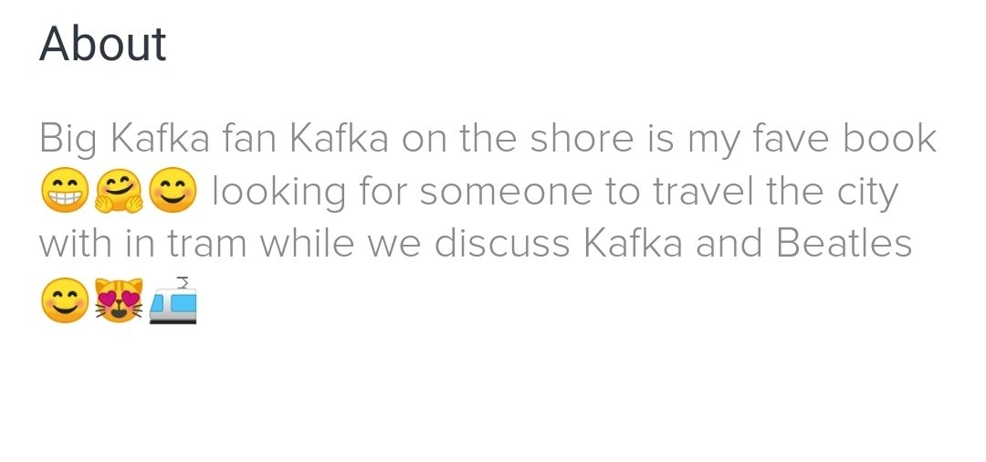 Screenshot of a Tinder bio
