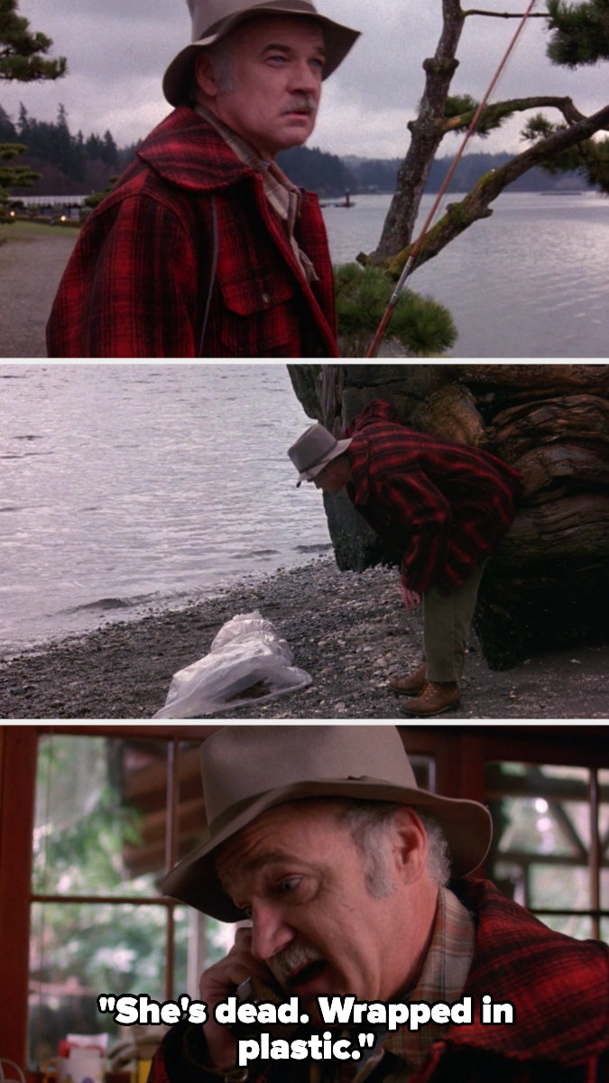 Pete Martell finds Laura Palmer and calls the sheriff saying she's dead and wrapped in plastic
