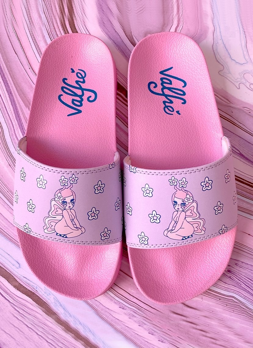 pink slides with a fairy on them