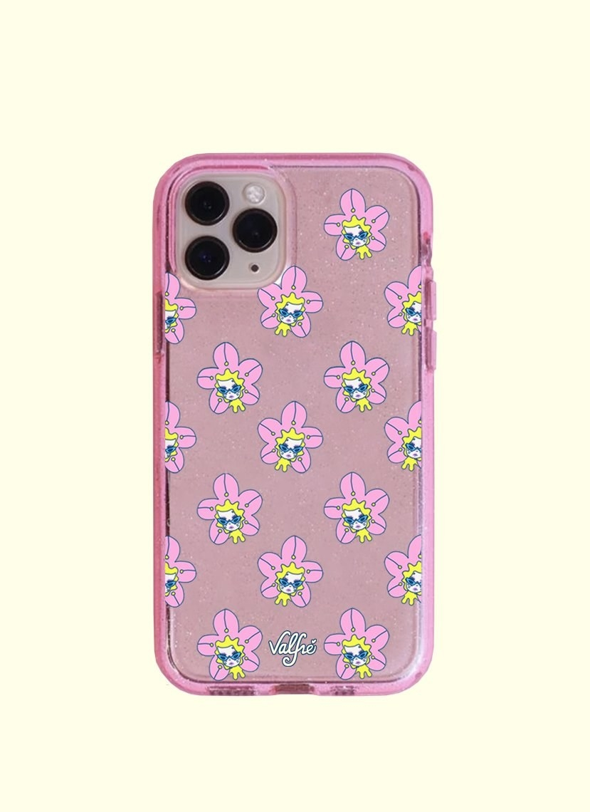 a pink glittery iphone case with illustrations of a floral girl on it