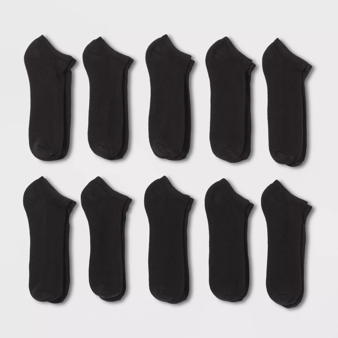 A 10-pack pair of black, no-show socks