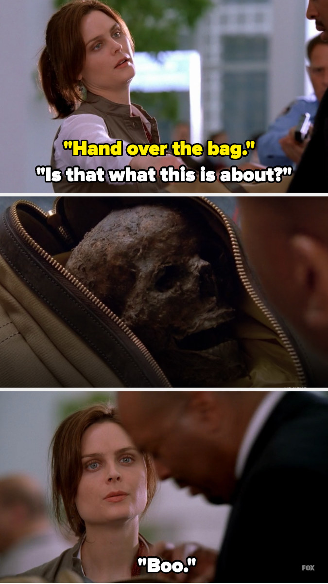 """homeland security asks Brennan to hand over the bag, which she does — the man opens it to see a skull and Brennan says """"boo"""""""