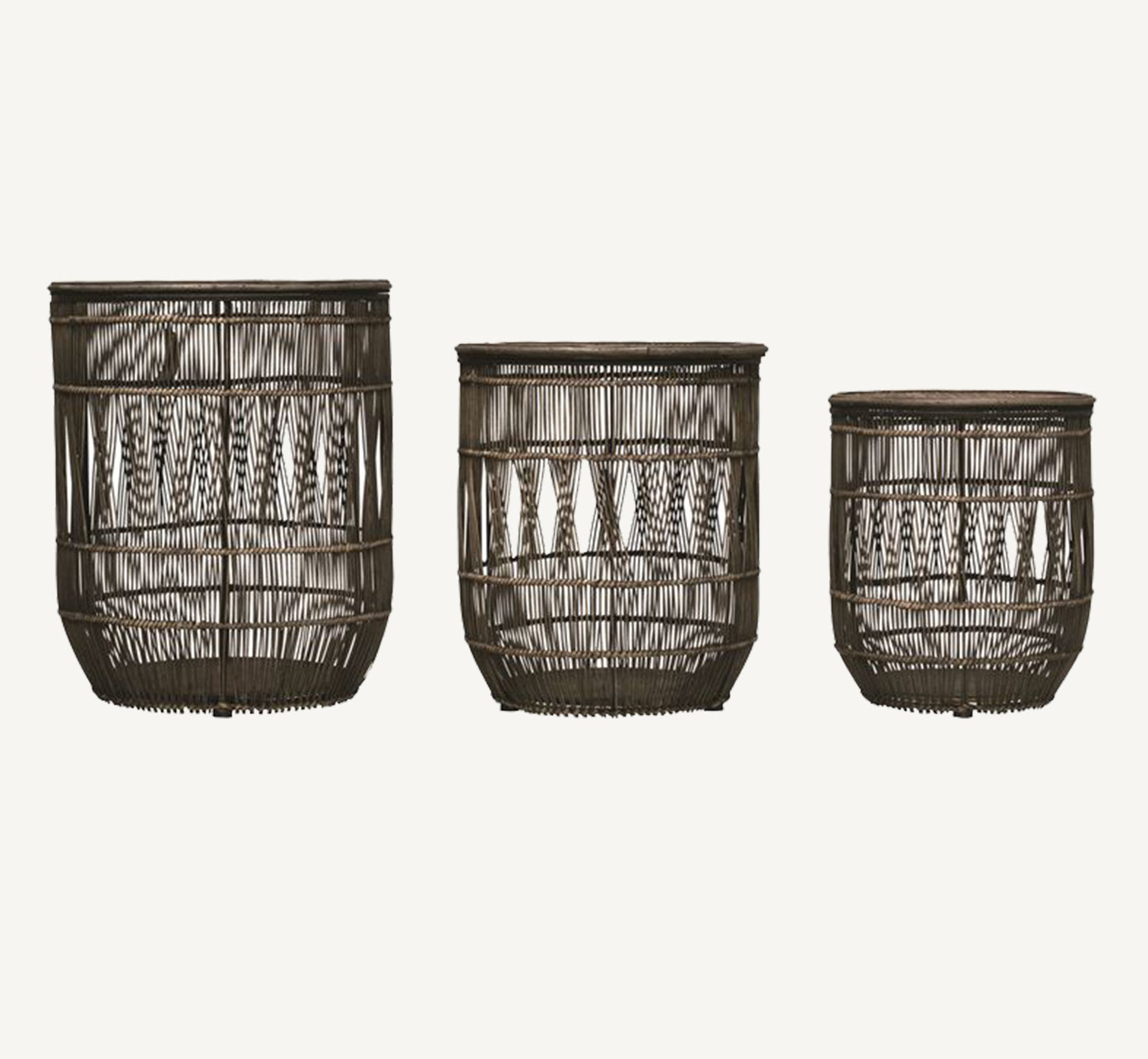 three distressed black bamboo and rattan baskets with lids