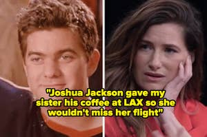 """Joshua Jackson in """"Dawson's Creek;"""" Kathryn Hahn during an actress roundtable in the late 2010s"""