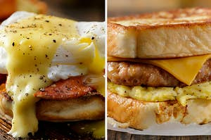 two breakfast sandwiches with melted cheese