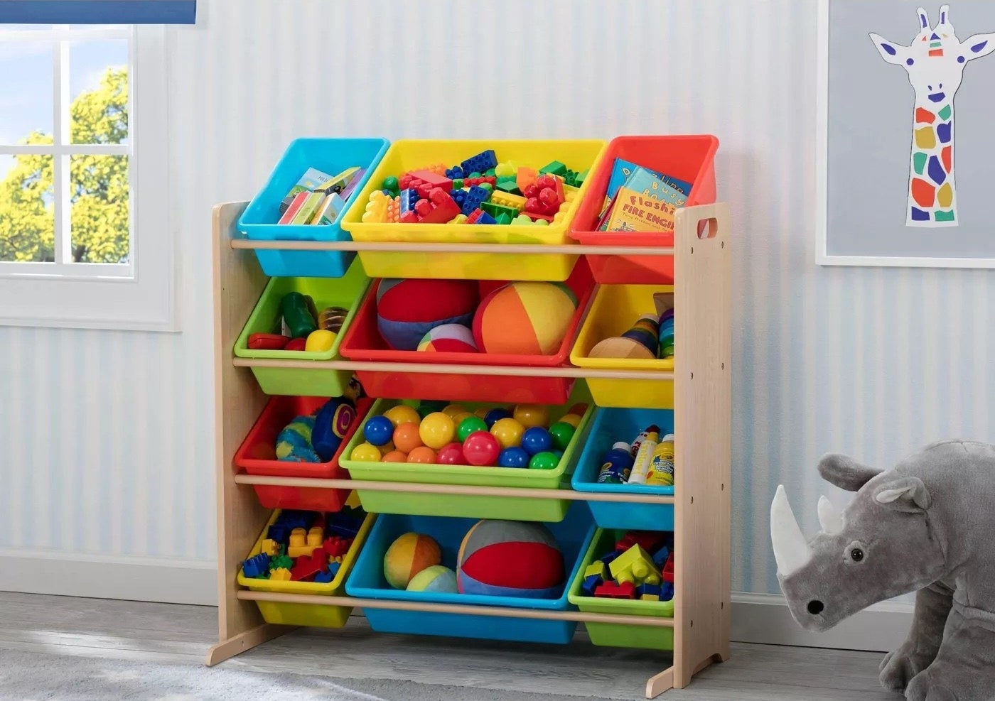 The toy storage organizer filled with assorted items