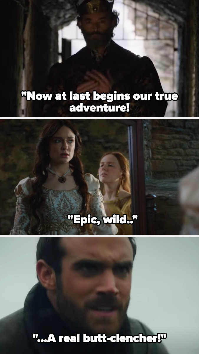 the narrator sings that the adventure begins and is epic, wild, and a real butt-clencher