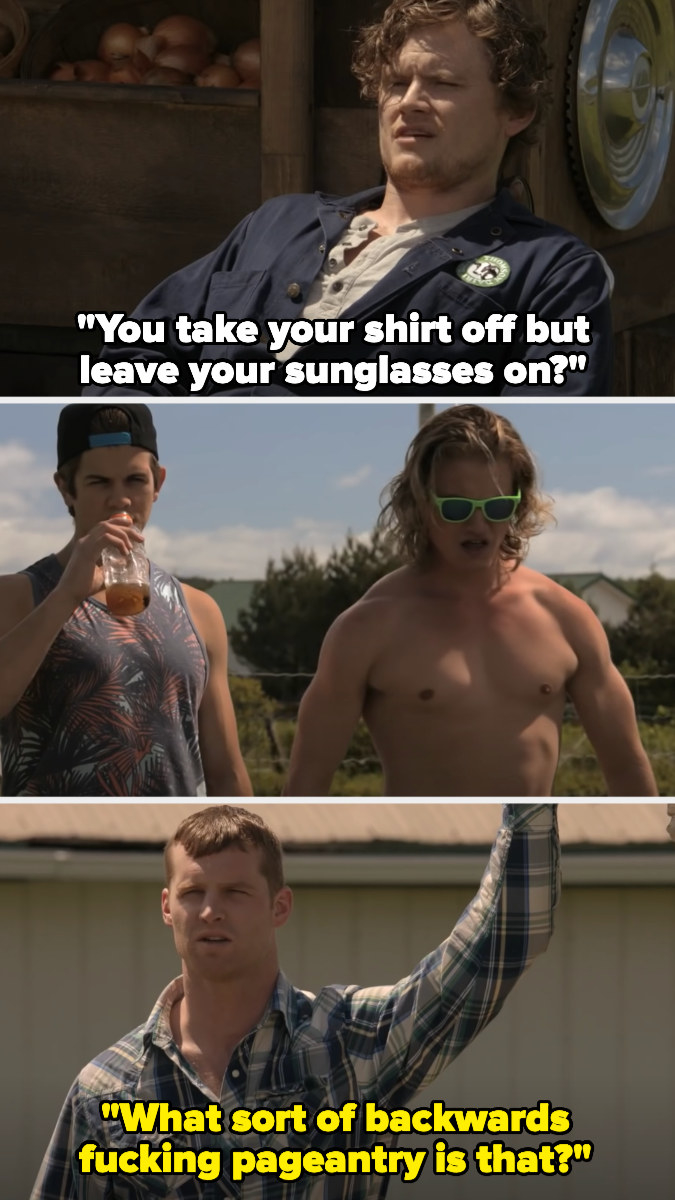 """Daryl: """"You take your shirt off but leave your sunglasses on,"""" Wayne: """"What sort of backwards fucking pageantry is that?"""""""