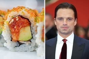 sushi on the left and sebastian stan on the right
