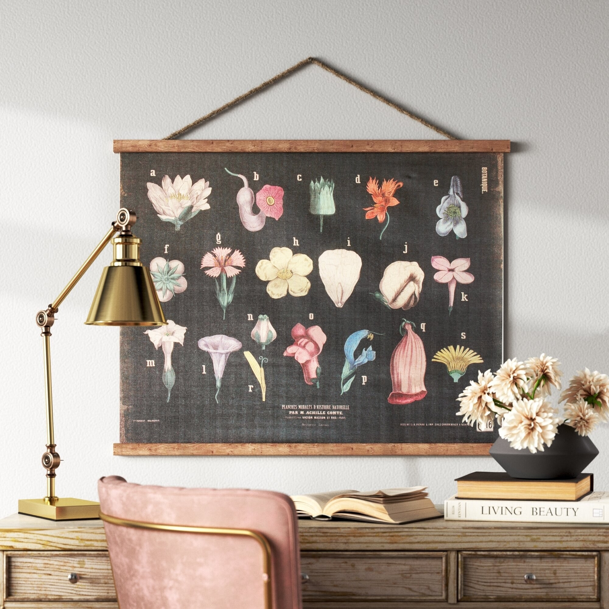 worn style tapestry held on wall with wooden poster hanger. it has several different flower tops labeled in vintage style.