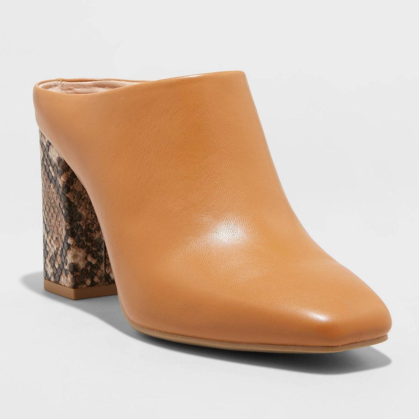 the light brown mule with brown snakeskin print heel
