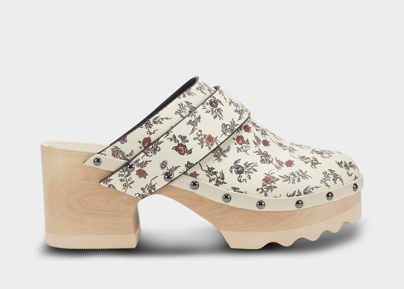 the white floral wood clogs