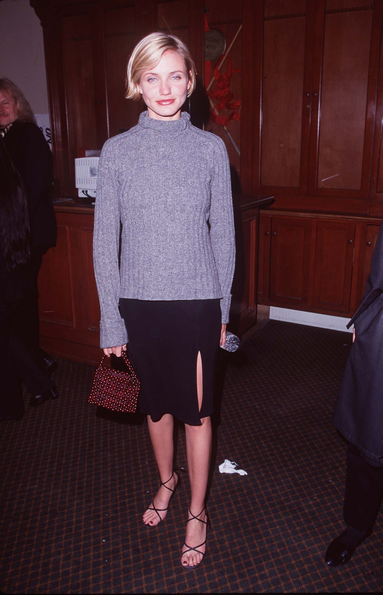 Cameron Diaz in a sweater at a movie premiere